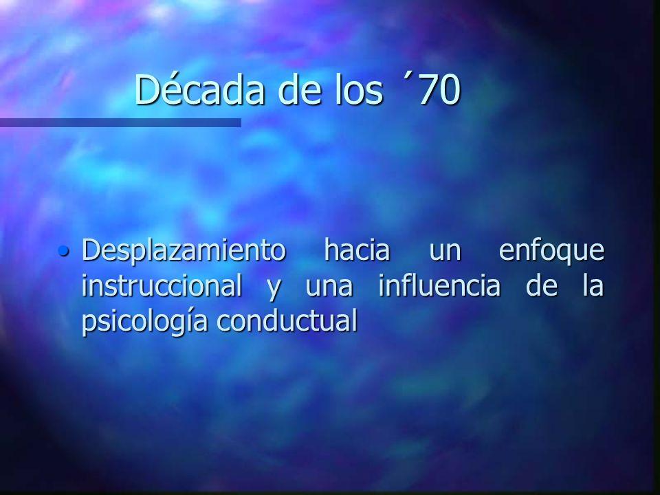 Década de los ´70 Desplazamiento hacia un enfoque instruccional y una influencia de la psicología conductual.