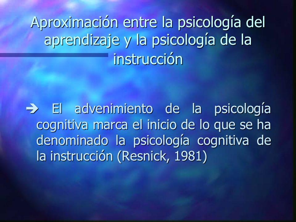 Aproximación entre la psicología del aprendizaje y la psicología de la instrucción