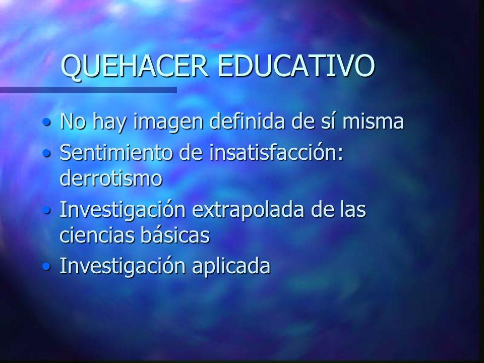 QUEHACER EDUCATIVO No hay imagen definida de sí misma