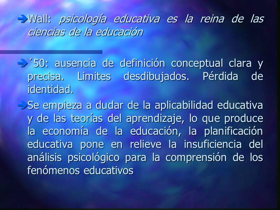 Wall: psicología educativa es la reina de las ciencias de la educación