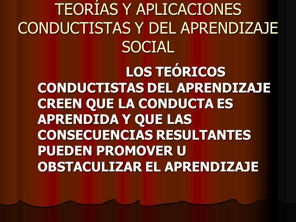 TEORÍAS Y APLICACIONES CONDUCTISTAS Y DEL APRENDIZAJE SOCIAL