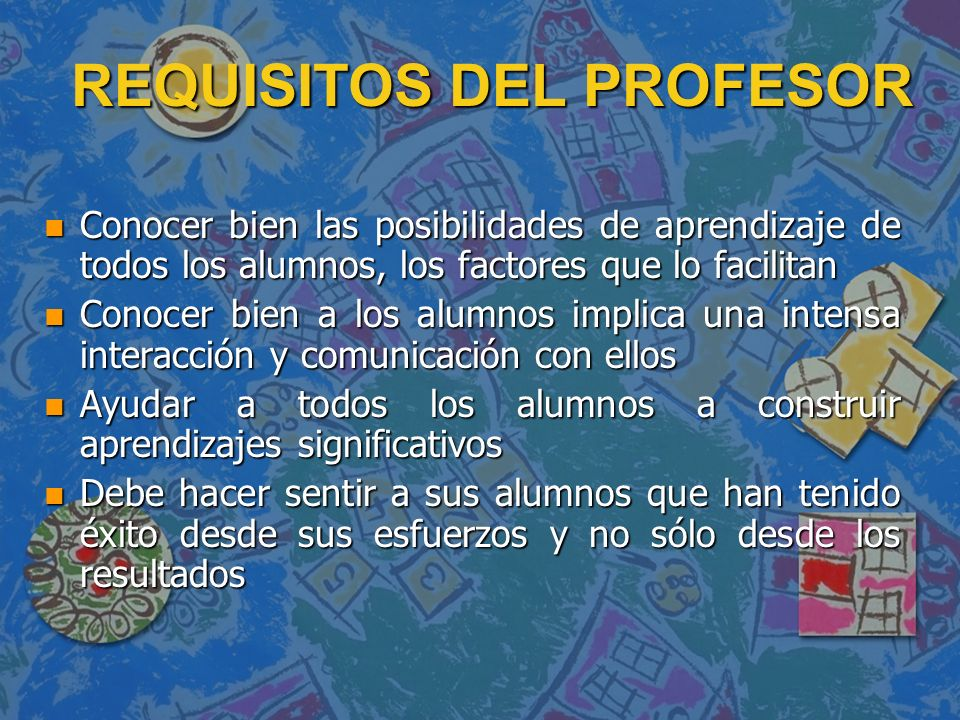 REQUISITOS DEL PROFESOR