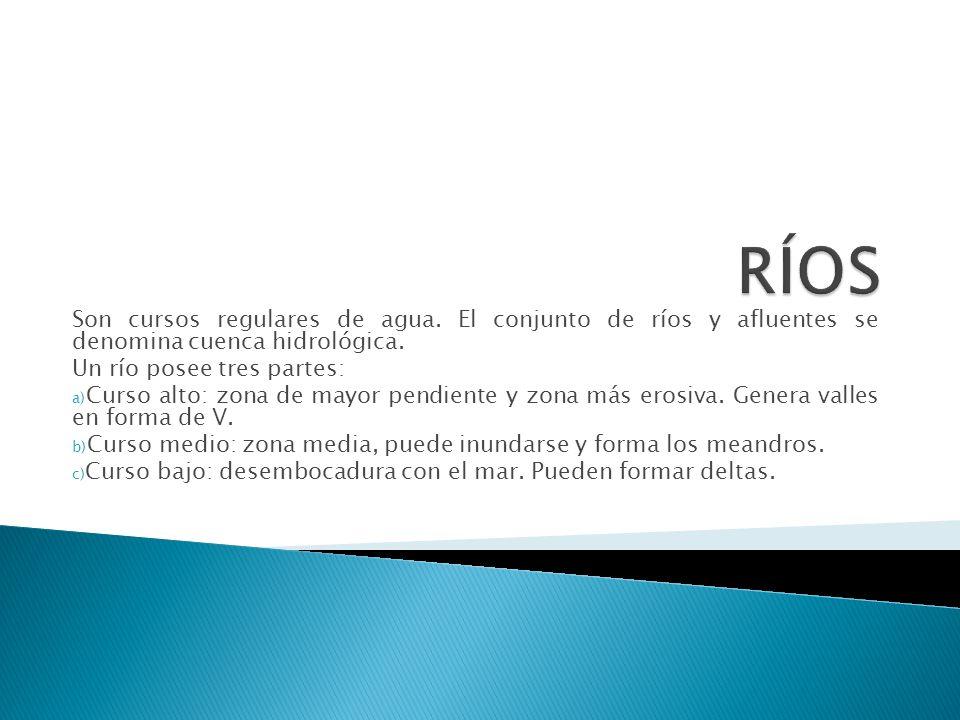 RÍOS Son cursos regulares de agua. El conjunto de ríos y afluentes se denomina cuenca hidrológica.