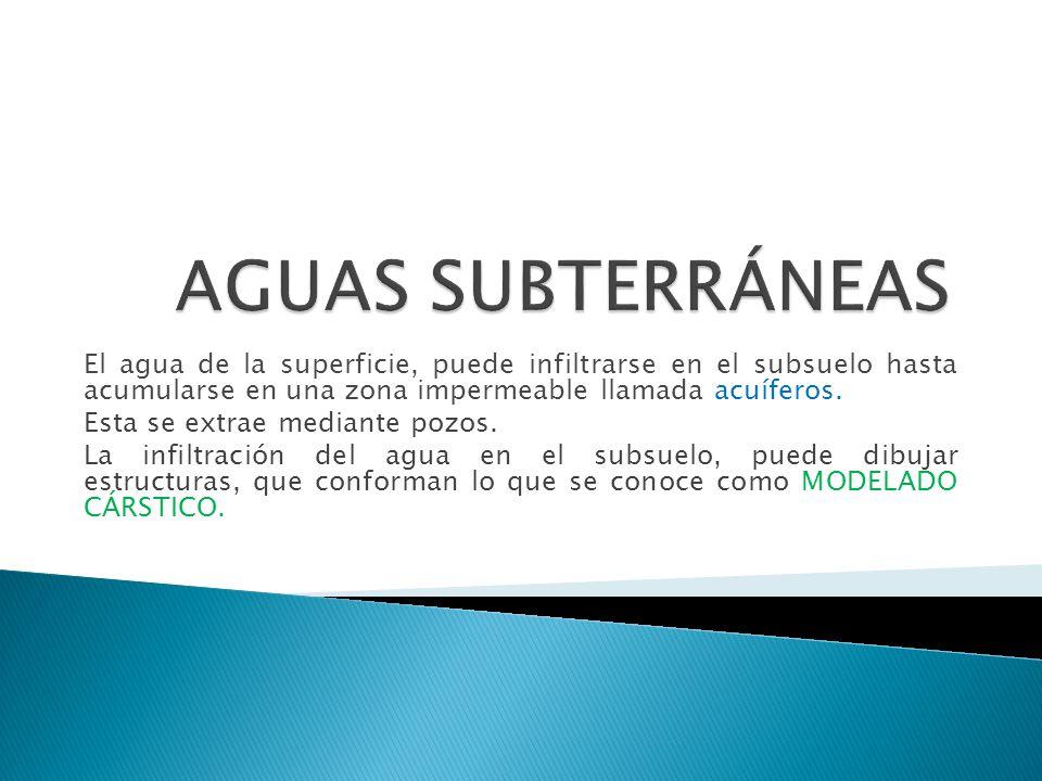 AGUAS SUBTERRÁNEAS El agua de la superficie, puede infiltrarse en el subsuelo hasta acumularse en una zona impermeable llamada acuíferos.
