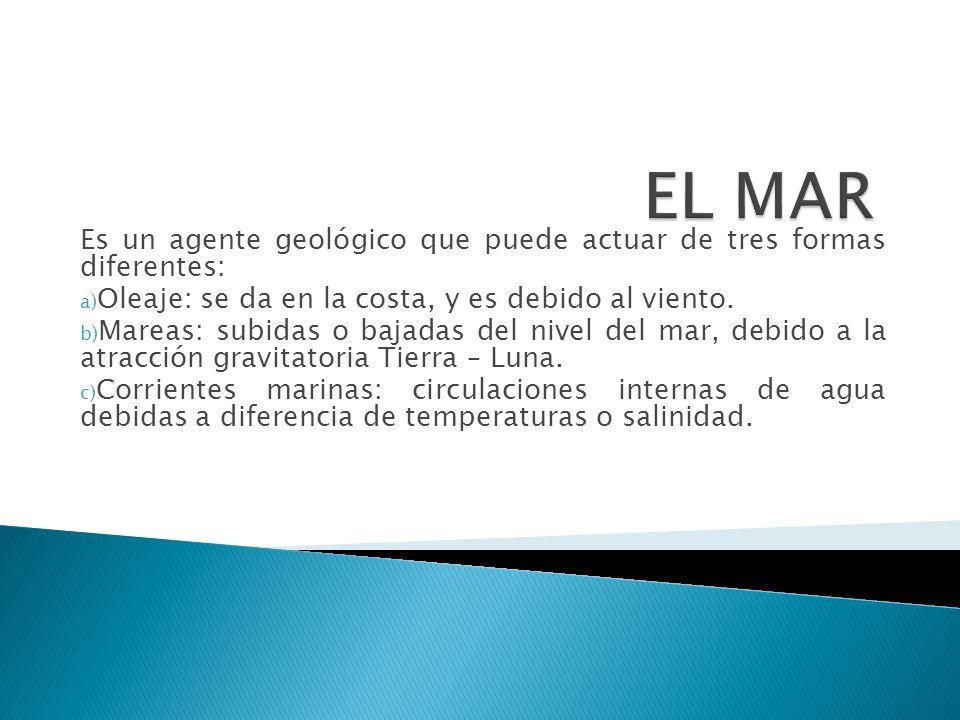 EL MAR Es un agente geológico que puede actuar de tres formas diferentes: Oleaje: se da en la costa, y es debido al viento.
