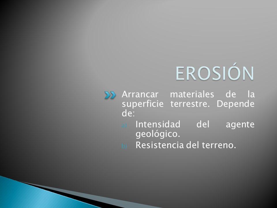 EROSIÓN Arrancar materiales de la superficie terrestre. Depende de: