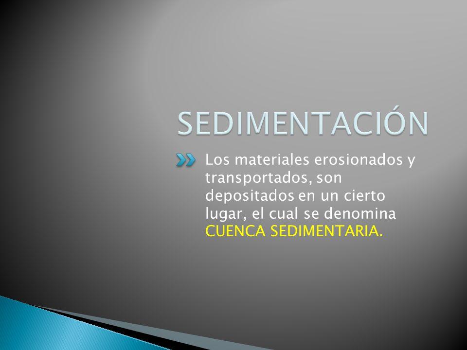 SEDIMENTACIÓN Los materiales erosionados y transportados, son depositados en un cierto lugar, el cual se denomina CUENCA SEDIMENTARIA.