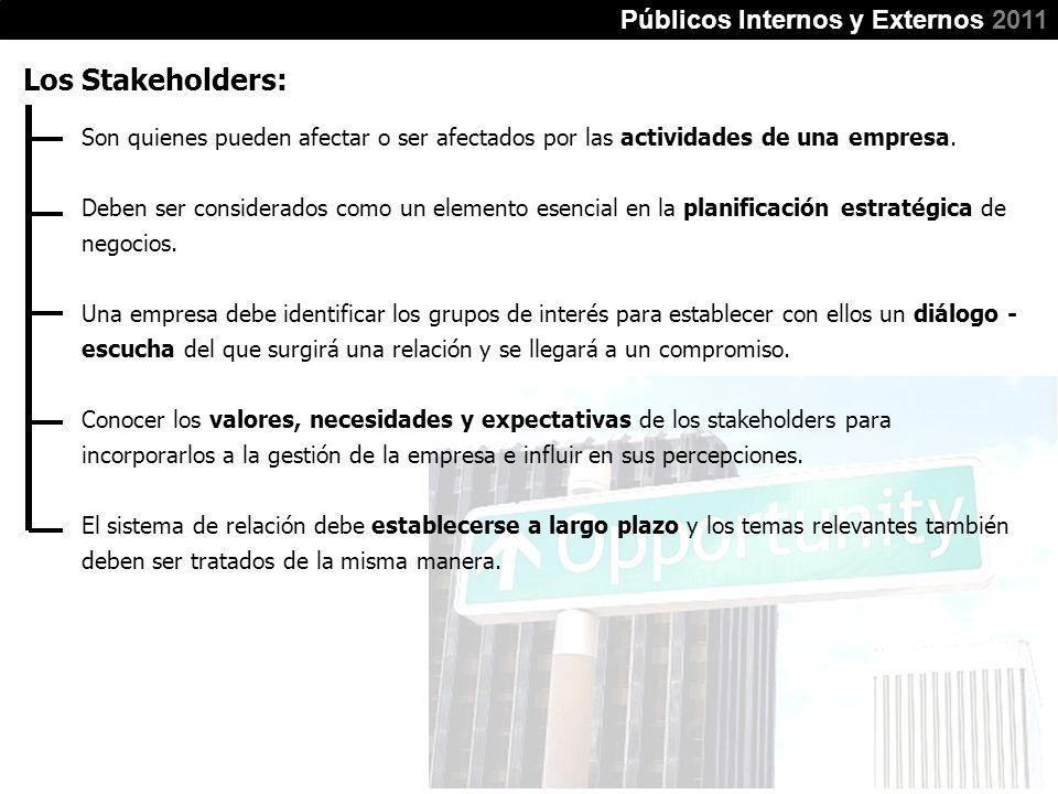 Los Stakeholders: Públicos Internos y Externos 2011