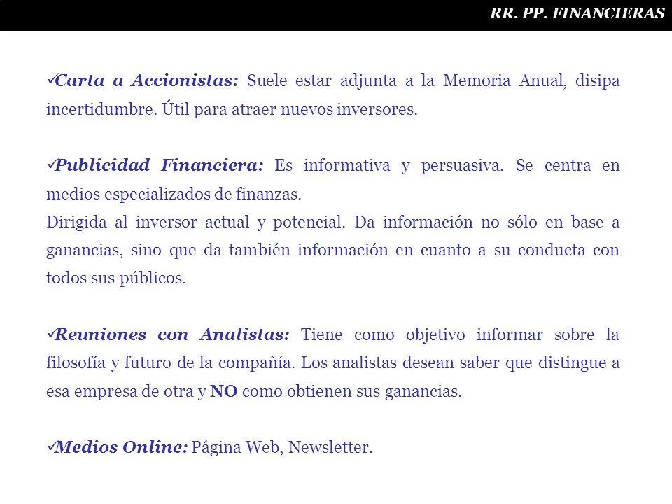 Medios Online: Página Web, Newsletter.