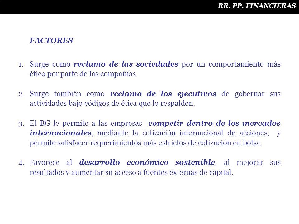 RR. PP. FINANCIERAS FACTORES. Surge como reclamo de las sociedades por un comportamiento más ético por parte de las compañías.