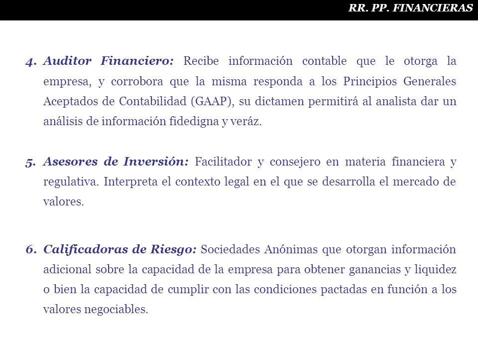 RR. PP. FINANCIERAS