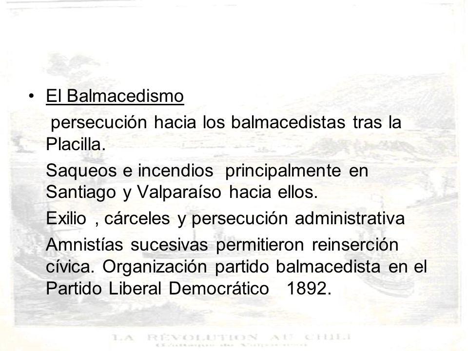 El Balmacedismo persecución hacia los balmacedistas tras la Placilla. Saqueos e incendios principalmente en Santiago y Valparaíso hacia ellos.
