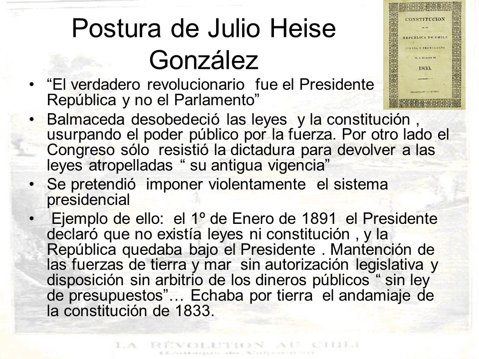 Postura de Julio Heise González