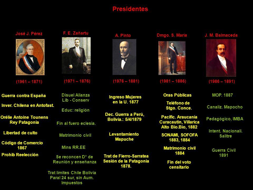 Presidentes José J. Pérez F. E. Zañartu A. Pinto Dmgo. S. María