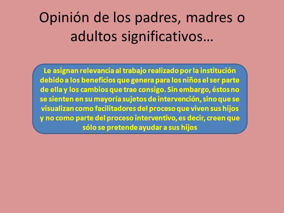 Opinión de los padres, madres o adultos significativos…