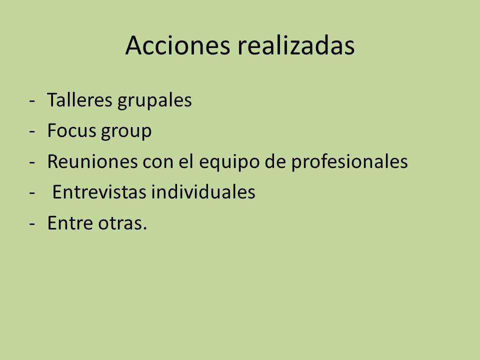 Acciones realizadas Talleres grupales Focus group