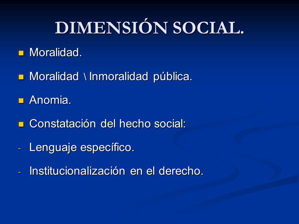 DIMENSIÓN SOCIAL. Moralidad. Moralidad \ Inmoralidad pública. Anomia.
