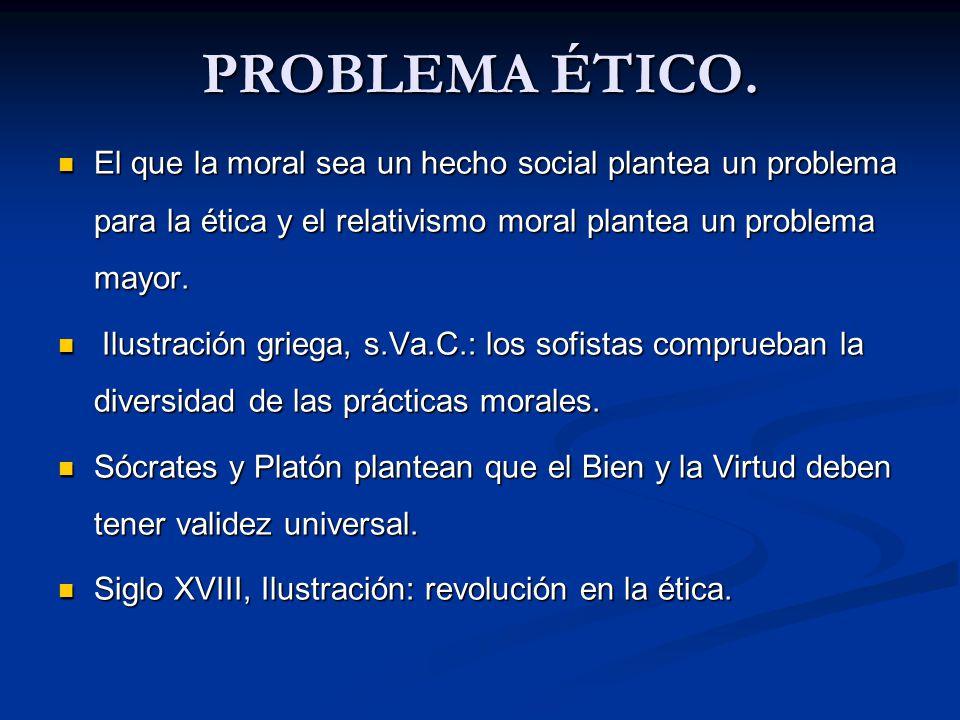 PROBLEMA ÉTICO. El que la moral sea un hecho social plantea un problema para la ética y el relativismo moral plantea un problema mayor.