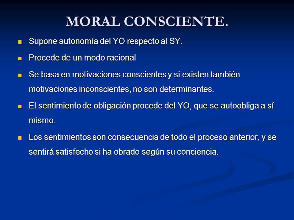 MORAL CONSCIENTE. Supone autonomía del YO respecto al SY.