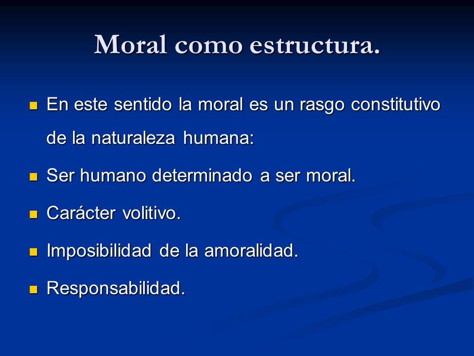 Moral como estructura. En este sentido la moral es un rasgo constitutivo de la naturaleza humana: Ser humano determinado a ser moral.