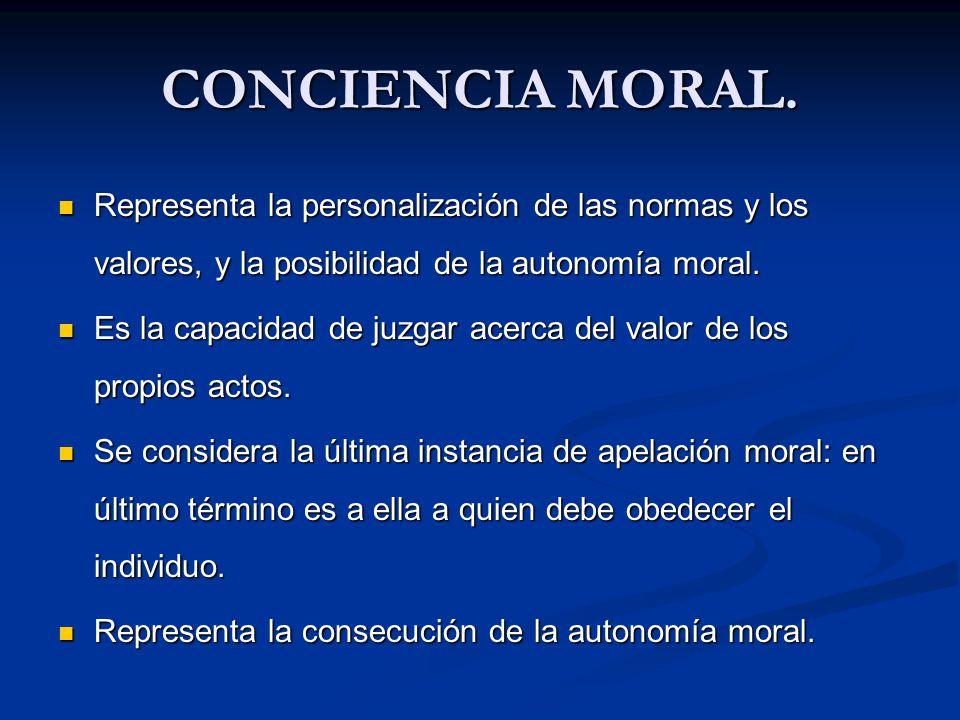 CONCIENCIA MORAL. Representa la personalización de las normas y los valores, y la posibilidad de la autonomía moral.
