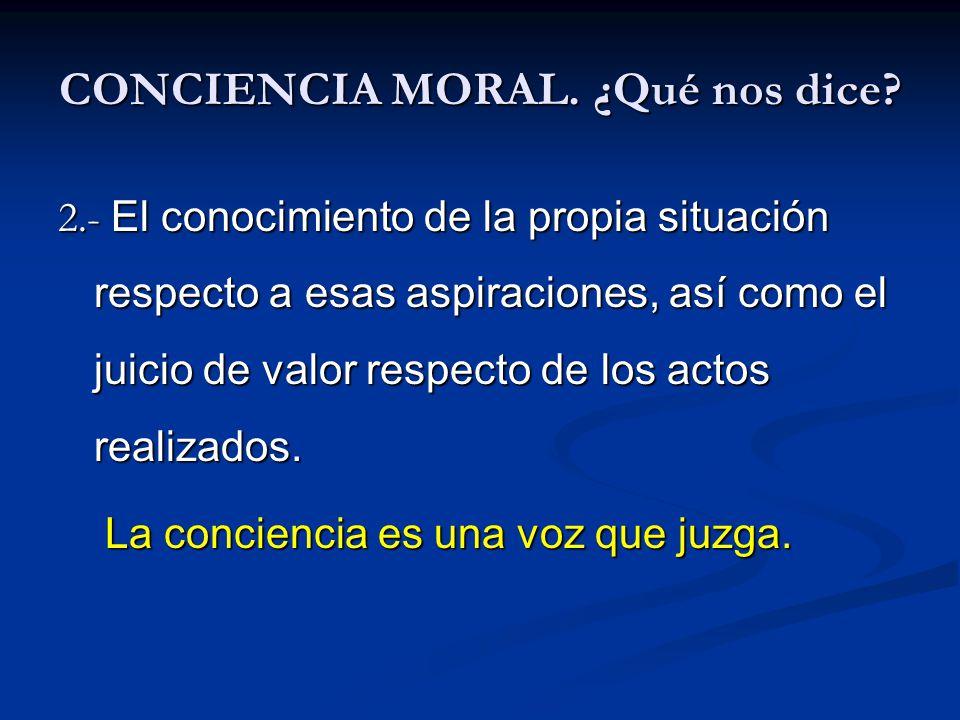 CONCIENCIA MORAL. ¿Qué nos dice