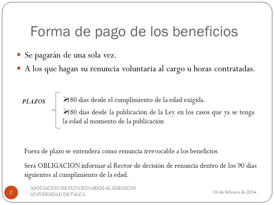 Forma de pago de los beneficios