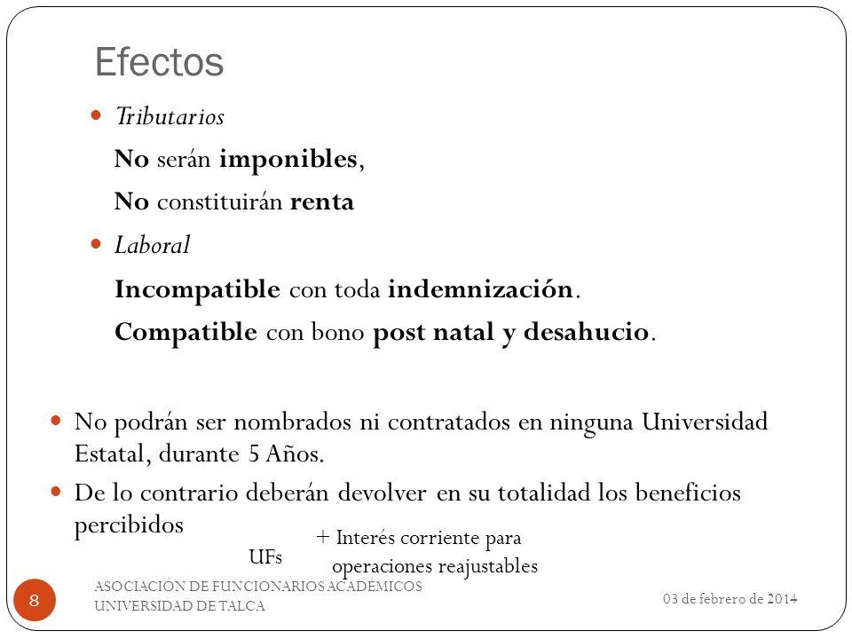 Efectos Tributarios Laboral Incompatible con toda indemnización.