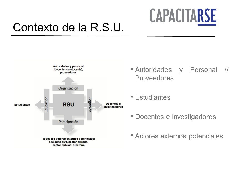 Contexto de la R.S.U. Autoridades y Personal // Proveedores