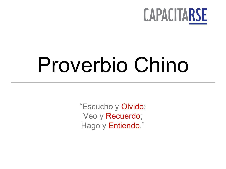 Proverbio Chino Escucho y Olvido; Veo y Recuerdo; Hago y Entiendo.
