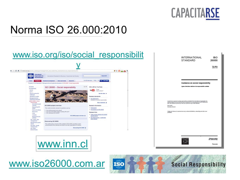 Norma ISO 26.000:2010 www.inn.cl www.iso26000.com.ar