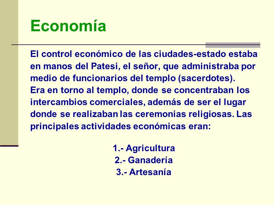 Economía El control económico de las ciudades-estado estaba