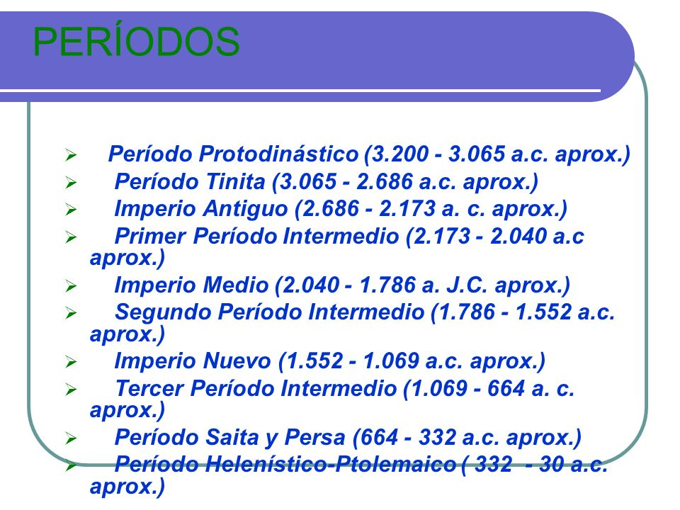 PERÍODOS Período Protodinástico (3.200 - 3.065 a.c. aprox.)