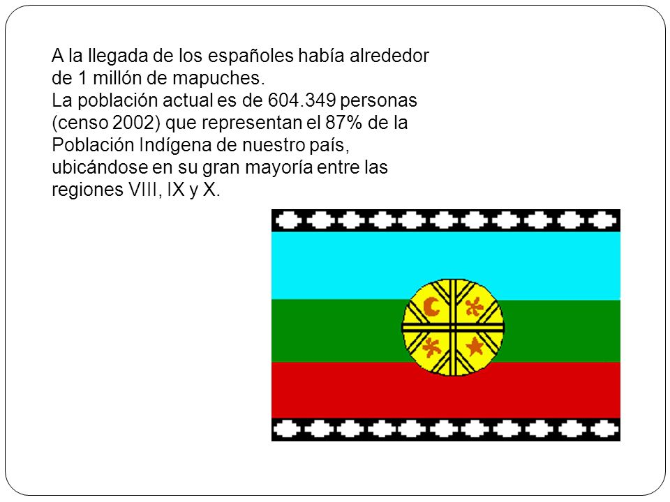 A la llegada de los españoles había alrededor de 1 millón de mapuches.