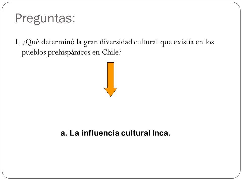 Preguntas: 1. ¿Qué determinó la gran diversidad cultural que existía en los pueblos prehispánicos en Chile