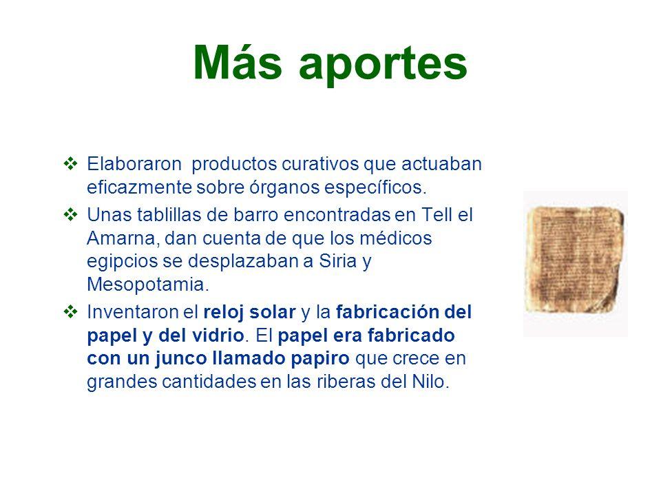 Más aportes Elaboraron productos curativos que actuaban eficazmente sobre órganos específicos.
