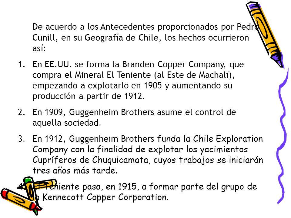 De acuerdo a los Antecedentes proporcionados por Pedro Cunill, en su Geografía de Chile, los hechos ocurrieron así: