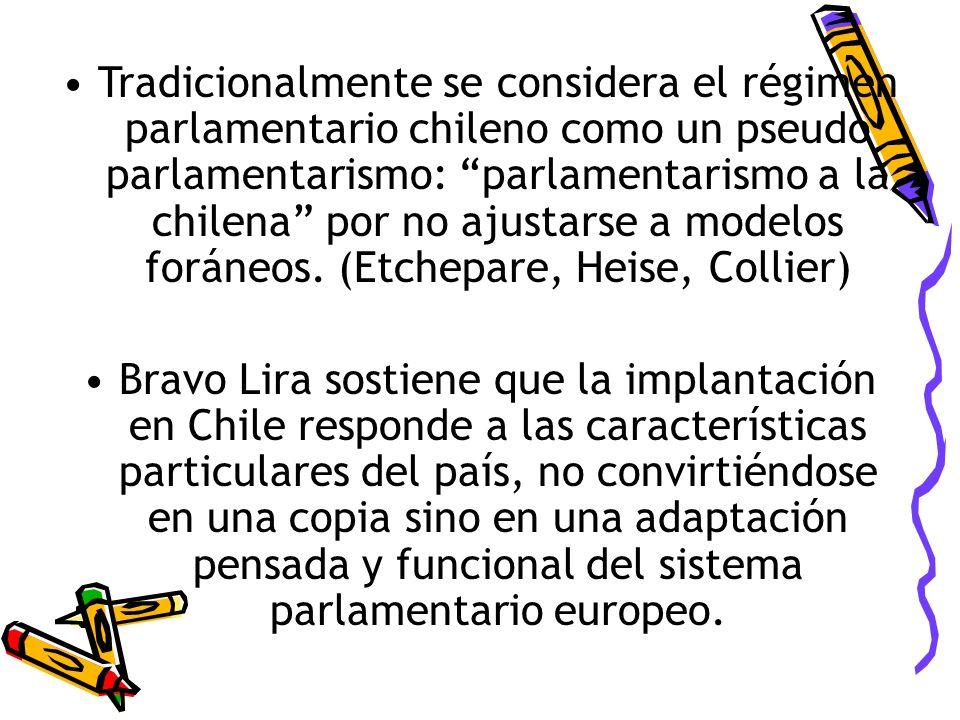 Tradicionalmente se considera el régimen parlamentario chileno como un pseudo parlamentarismo: parlamentarismo a la chilena por no ajustarse a modelos foráneos. (Etchepare, Heise, Collier)