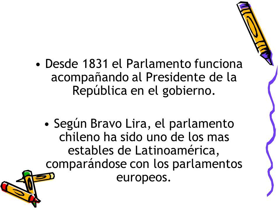 Desde 1831 el Parlamento funciona acompañando al Presidente de la República en el gobierno.