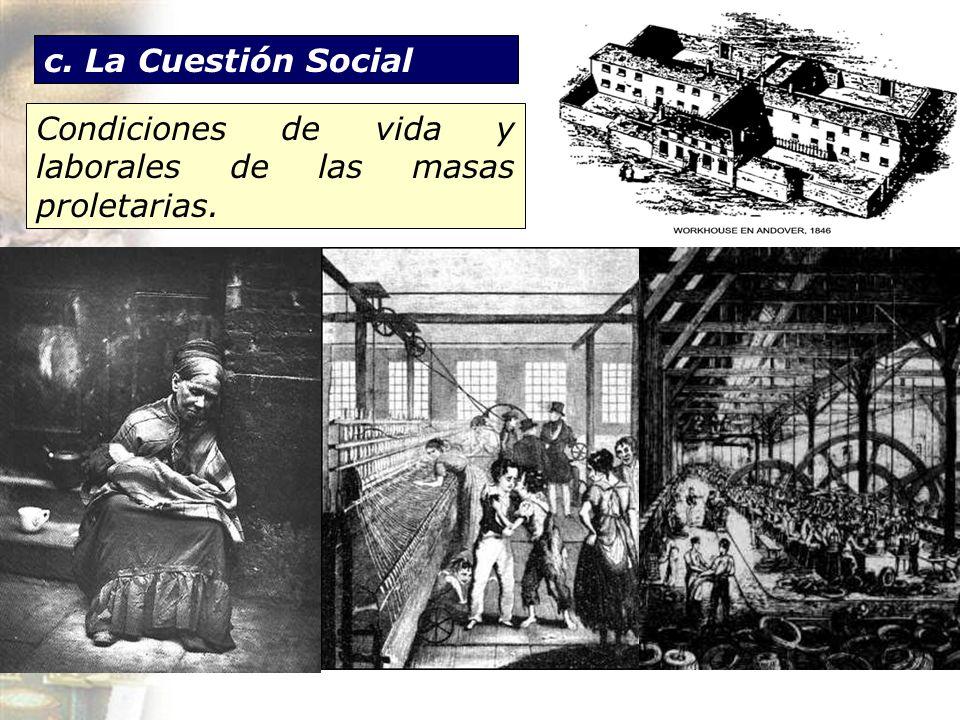 Condiciones de vida y laborales de las masas proletarias.