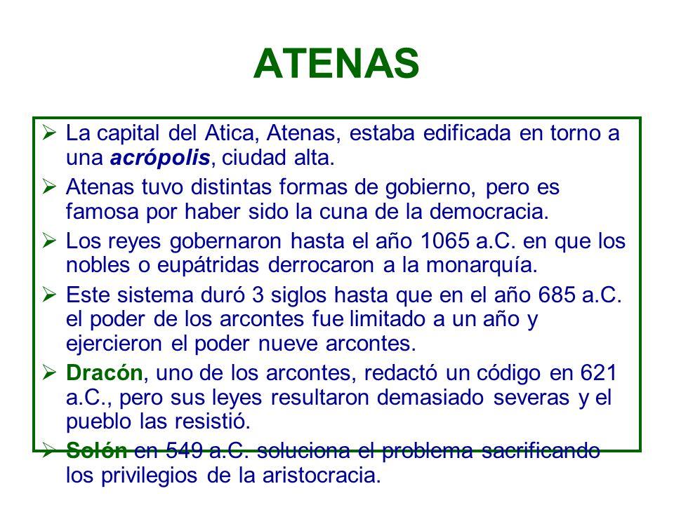 ATENAS La capital del Atica, Atenas, estaba edificada en torno a una acrópolis, ciudad alta.