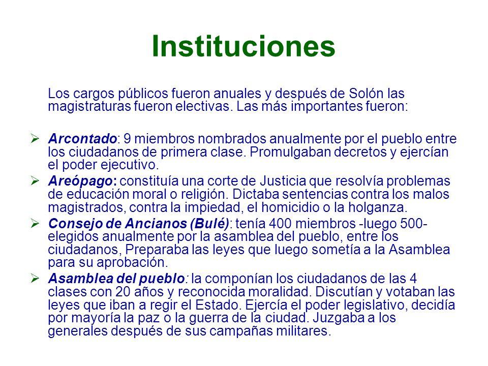 Instituciones Los cargos públicos fueron anuales y después de Solón las magistraturas fueron electivas. Las más importantes fueron: