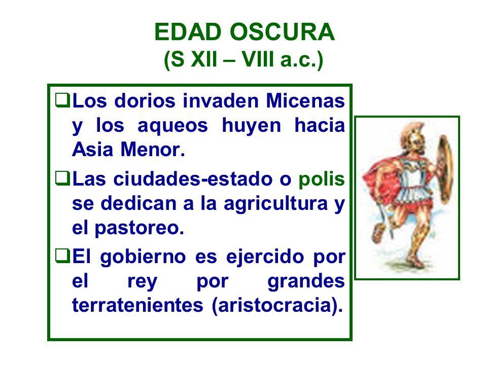 EDAD OSCURA (S XII – VIII a.c.)