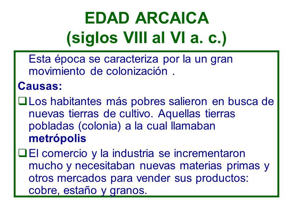 EDAD ARCAICA (siglos VIII al VI a. c.)