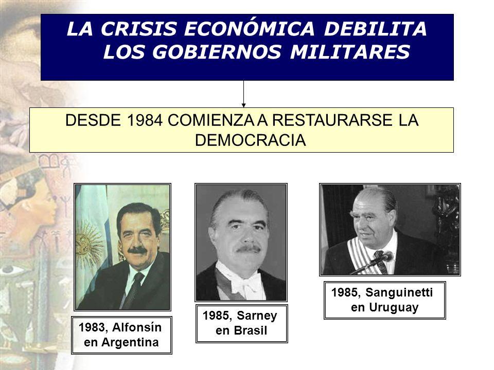 LA CRISIS ECONÓMICA DEBILITA LOS GOBIERNOS MILITARES