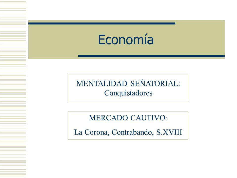Economía MENTALIDAD SEÑATORIAL: Conquistadores MERCADO CAUTIVO:
