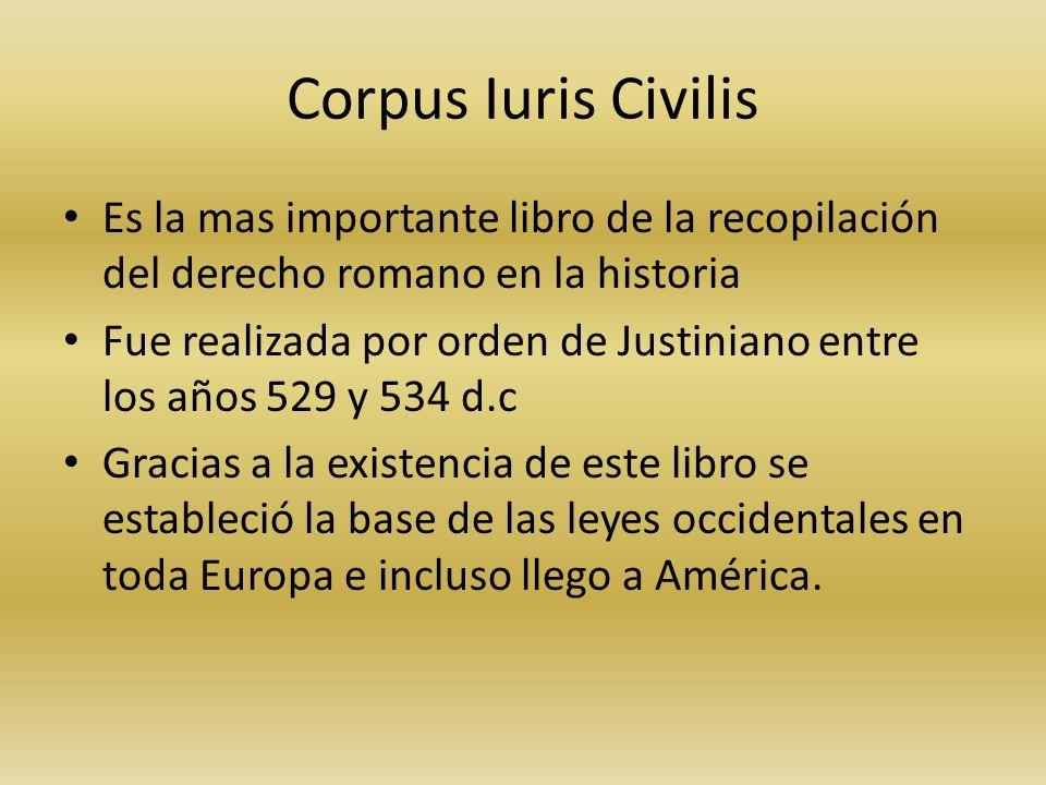 Corpus Iuris Civilis Es la mas importante libro de la recopilación del derecho romano en la historia.