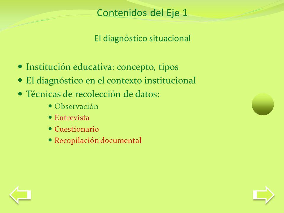 Contenidos del Eje 1 El diagnóstico situacional