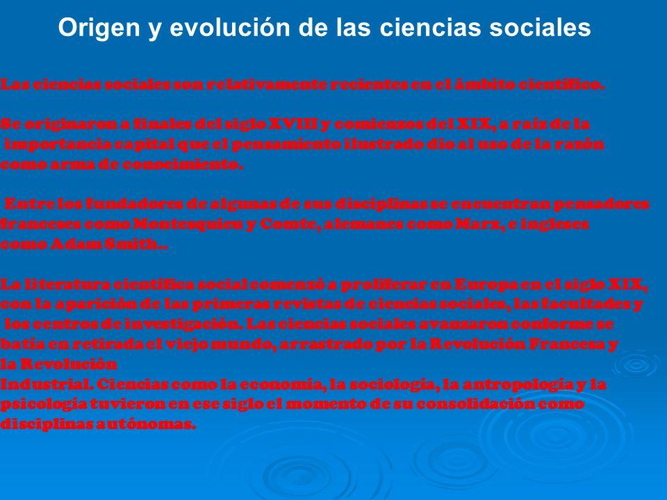 Origen y evolución de las ciencias sociales