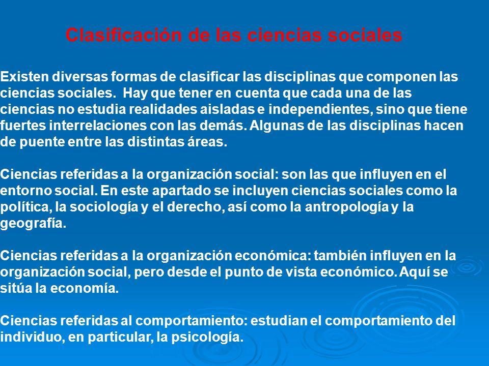 Clasificación de las ciencias sociales